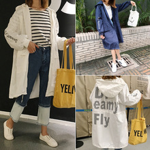 Free shipping Autumn Korean letters printed loose drawstring hooded long section long-sleeved cardigan coat jacket female wild