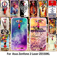 AKABEILA Soft TPU Hard PC Abstract Printed   Mobile     Phone   Case For Asus Zenfone 2 Laser ZE550KL Z00LD Zenfone2 Laser ZE551KL Cover