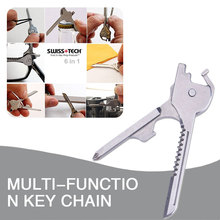 Key Cutter chain Screwdriver Outdoors 6 in 1 Stainless Steel Multi Purpose Tools Tactical Package Multi-function Equipment
