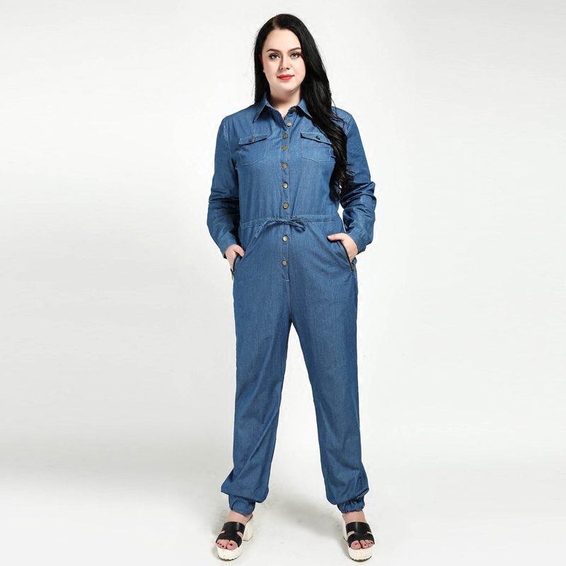 5ee037f2af6 New 2018 Spring Autumn Women Casual Denim Rompers Long Sleeves Overalls  Jumpsuit Jeans Plus Size Rompers 4XL 5XL 6XL 7XL W157-in Jumpsuits from  Women s ...