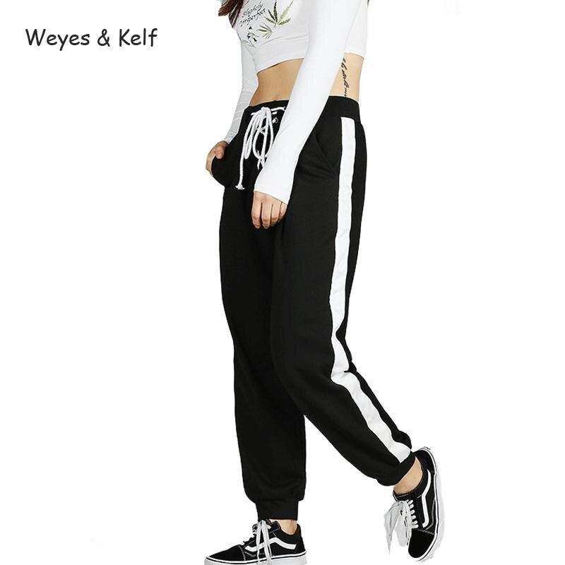 Weyes & Kelf Spring Autumn Casual Loose Pants Women 2018 Elastic Waist Side Stripe Bandage Harem Striped Trousers