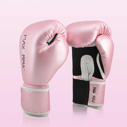 Maxxmma Wanita/Perempuan Profesional Sarung Tinju Muay Thai PU Kulit Sarung Tinju Pria MMA Gym Training Tinju Sarung Tangan Anak-anak orang Dewasa