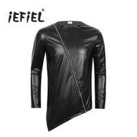 IEFiEL Nouveauté Mode Noir Hommes Faux Cuir Clubwear Manches Longues Zipper Irrégulière Hem Hip Hop T-shirt Tops Hommes Partie T chemise