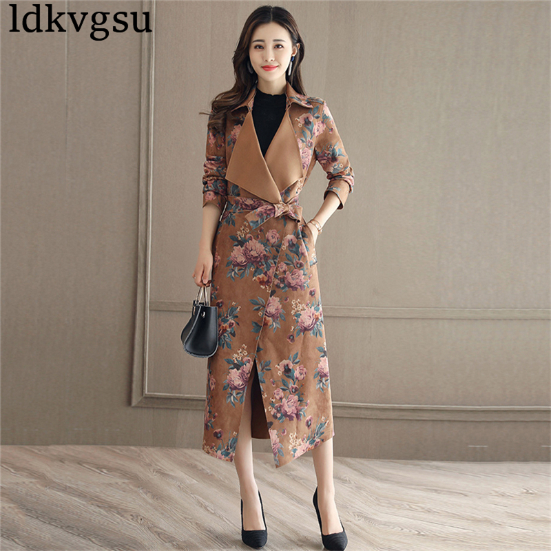 Women's Coat Spring Autumn Windbreaker Female Long Print Cardigan Coat 2018 New Vintage Suede Waist Belt Women   Trench   Coat Is166