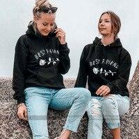 BKLD Plus Size Fashion 2018 Autumn Winter Best Friends Rose Letter Print Sweatshirt Casual Women Long Sleeve Hooded Pullover Top