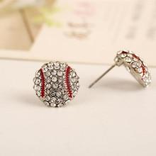 fashion rhinestone stone baseball charm sporty women stud earrings round red enamel white/yellow rhinestone one pair xye225