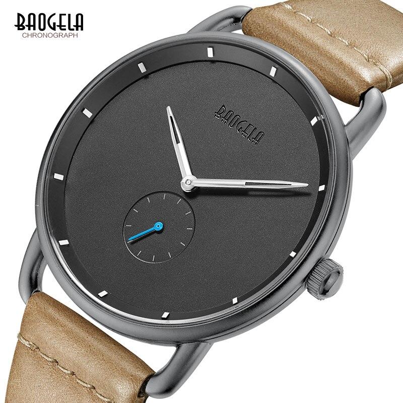 Baogela Mens Einfache Schwarz Quarzuhr, Leder Bracelete Armbanduhr Geschäfts Männer Uhr Wasserdicht Relogio Masculino BL1806