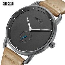 Baogela Для мужчин s простой черный кварцевые часы, кожа Bracelete наручные Бизнес Для мужчин часы Водонепроницаемый Relogio Masculino BL1806