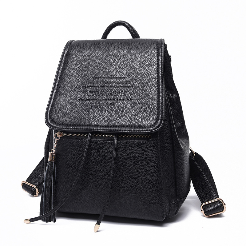 Women Backpack Solid Leather Mochila Feminina Tassel Bag Women Backpack School Bags Backpacks For Teenagers Girls