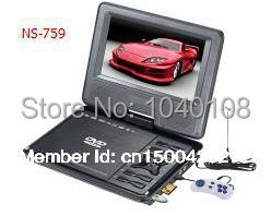 High Quality 7.8 inch Portable DVD Player / TV/FM Radio/ MP3/ MULTI-SD card Slot/ GAME+CD+Controller with free shipping