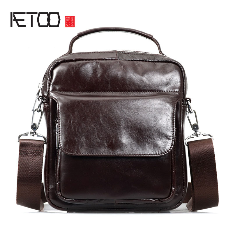AETOO  First layer of leather men shoulder bag casual men's leather handbag small bag aetoo leather men bag wild european and american first layer of leather men s shoulder bag trend backpack