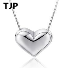 TJP Fashion Heart Shaped Simple Choker Necklace Popular 925 Sterling Silver Pendants For Women Wedding Jewelry