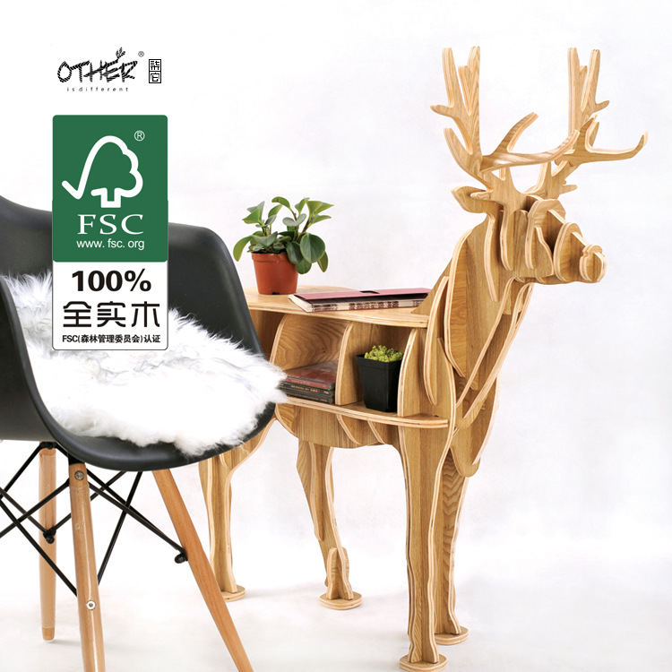 Christmas decorations deer table European DIY Arts Crafts Home Decoration deer wood craft gift desk self-build puzzle furniture factory wholesale european style rhino wood coffee table desk craft gift desk self build puzzle furniture free shipping