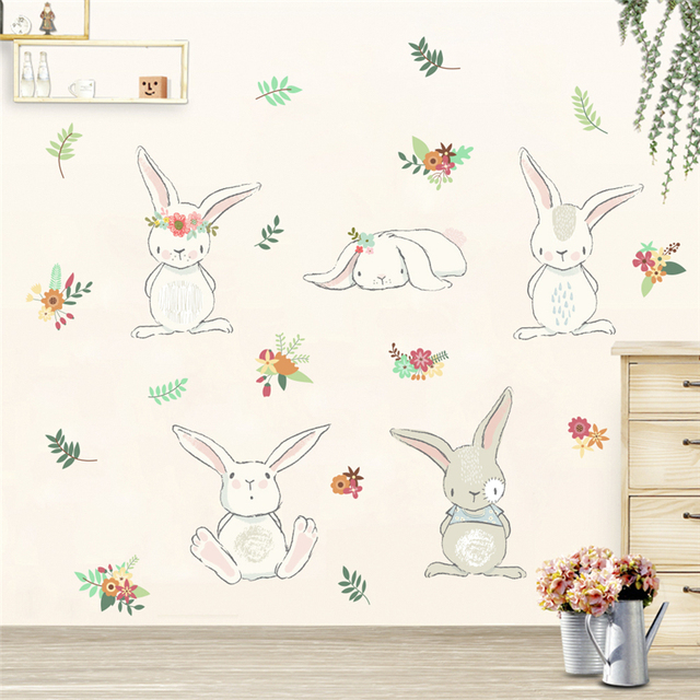 cartoon animal rabbit flower wall stickers for kids rooms home decor 50*70cm wall decals pvc poster diy mural art decoration