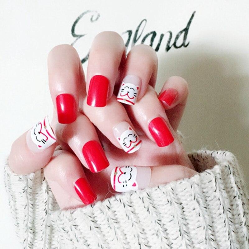 Hot Sale China Red False Nail Cute Kawaii Acrylic Fake Nails Lucky