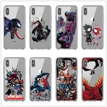 Spiderman Villain Marvel Venom silicone transparent TPU For iPhone X 10 XS MAX XR 6 6S Plus 7 7Plus 8 8Plus 5 5S SE