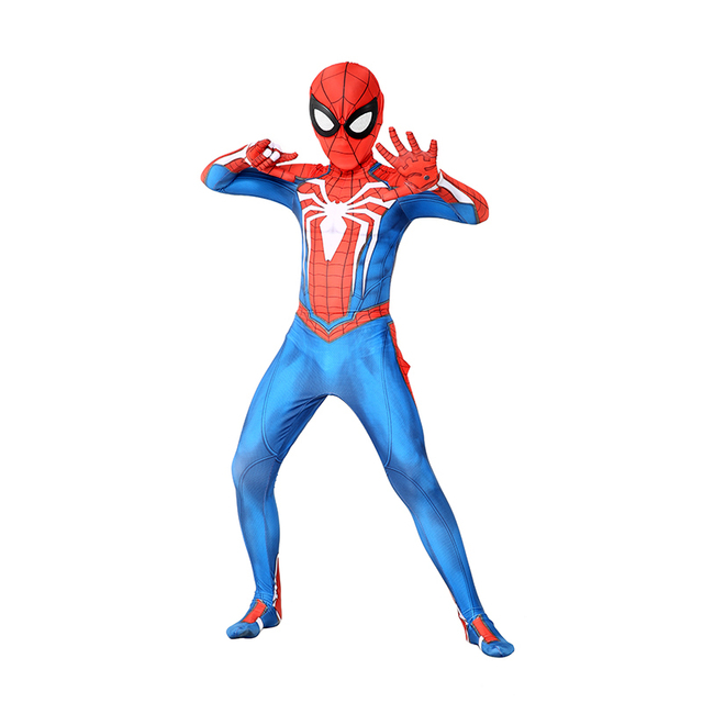 Kids Marvel Comic Fantasy Superhero Classic Ps4 Insomniac Games Spider boy Carnival Party Zentai Suit Halloween Cosplay Costume
