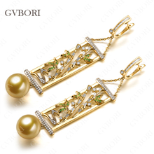 Luxury Royal Jewellery GVBORI 18K Yellow Gold Natural Southsea Golden Pearl Diamond Earrings For Women Wedding/Engagement/Gift