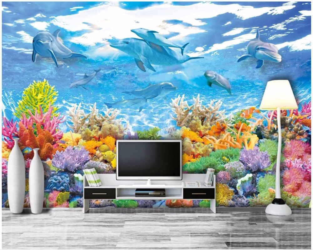 3d room wallpaper custom photo HD Underwater World Coral Dolphin Home decor 3d wall mural wallpaper for walls 3 d print fabric
