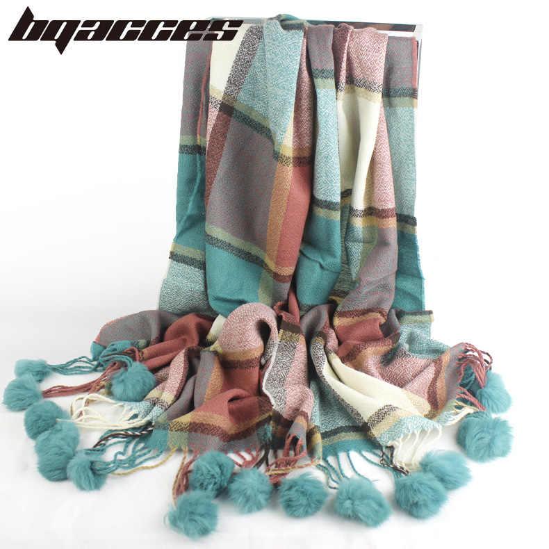 [BQACCES] 2018 зимние толстые теплые кашемировые шарфы с кроличьим мехом Pom женские модные клетчатые шерстяной шарф, шаль