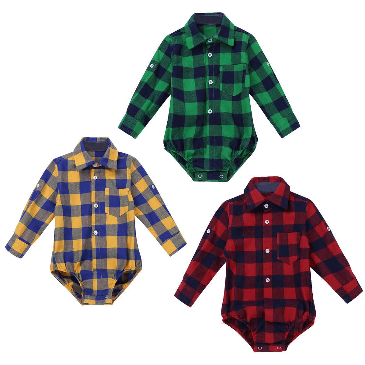 6510385f4 ... Baby Boy Clothes Bodysuit Long Sleeve Winter Infantil Bebe Boys Clothes  Plaid Button-up Shirt ...
