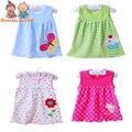 1pcs/lot Baby Tops girl Dresses Girls Infant Cotton Sleeveless Dress Summer baby dress Printed +Embroidery tst0001