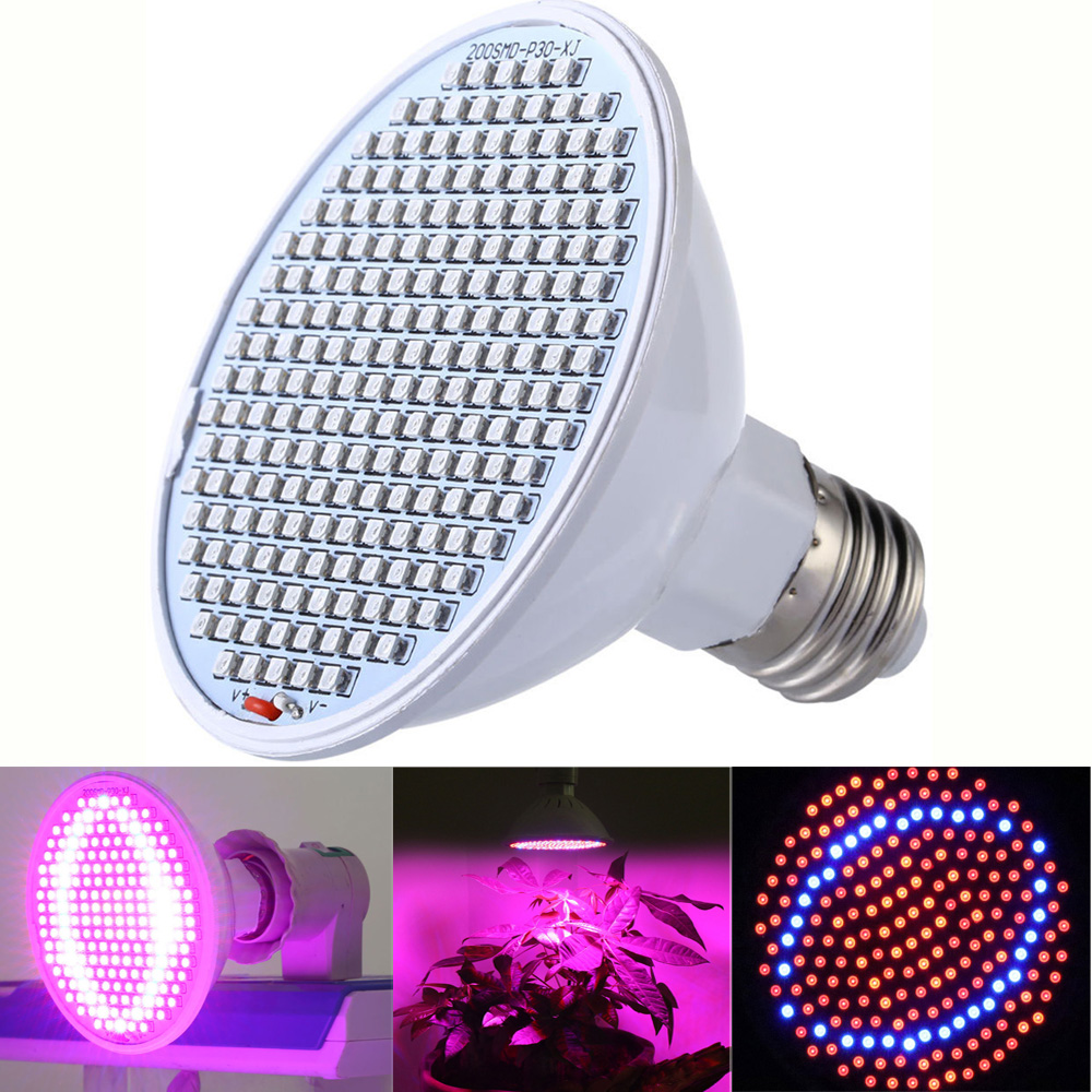 Venta caliente Led Grow Lights 24W 200-LED Full Spectrum Planta de interior Grow Light Sistema hidropónico Lámparas de cultivo para Flower Veg