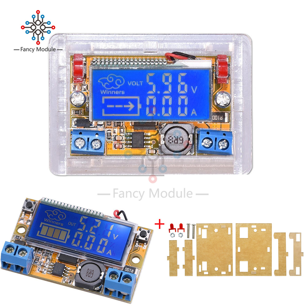 Dc Adjustable Step Down Power Supply Module Voltage Current Lcd Liquid Crystal Display Displays 5 32v With Acrylic Case In Regulators Stabilizers From