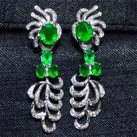 fine jewelry wholesale trendy luxury diamond green natural gemstone 18k gold emerald drop earrings for women