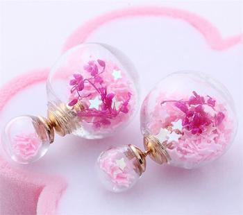 Freeshipping New Double Glass Globe Vial Earrings Double Pearl Stud Earrings DIY Glass Bottle Pendants (The Finished Product)