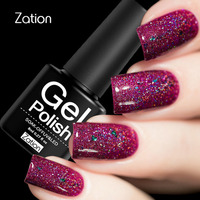 Zation Lacquer Nail Polish Neon Varnish Nail Gel Fluorescence Glitter Gel Glow Primer Bling Gel Polish Top Base Coat Enamel Gel