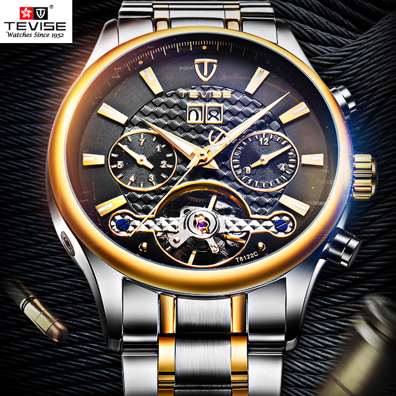 Tevise 2018 Business Tourbillon Automatic Watch Mens Multifunction Date Day Mechanical Wristwatches Men Watch horloges mannen limited edition seiko 5 sports day date men s automatic mechanical watch srp723