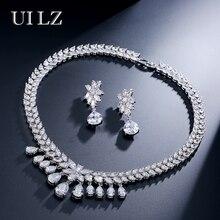 UILZ Luxury Sparking Brilliant Water Drop Cubic Zircon Earrings Necklace Jewelry Set Wedding Bridal Dinner Dress JMSP228
