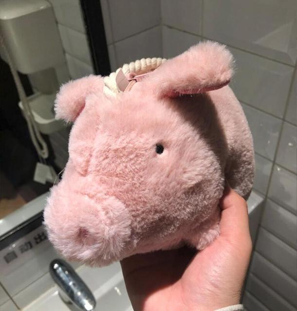 Bolsas Oh saco de porco das mulheres da pele do falso de pelúcia porco porco cor de rosa saco de crianças dos desenhos animados bolsa feminina 2019 novo bonito saco do mensageiro menina