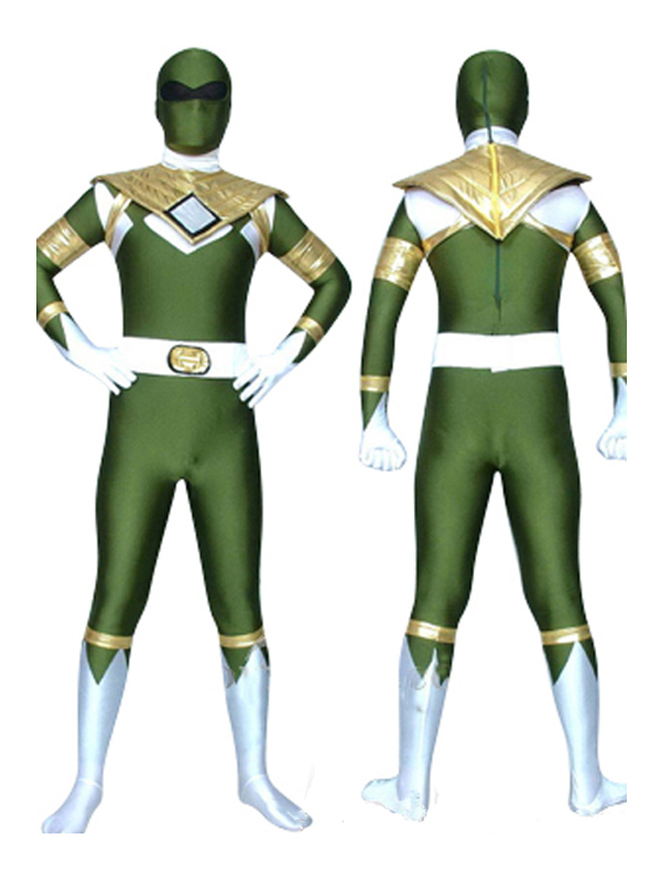 Free Shipping Green Dragon Ranger Spandex Lycra Full Body Suit Dark Kyoryu Sentai Zyuranger Cosplay Costume Custom Made