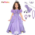 PaMaBa Girls Sofia the First Costume Dresses Kids Princess Sofia Halloween Cosplay Frocks Children Summer Clothes Party Dress up