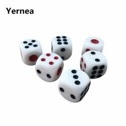 Yernea 10 unids/lote dados para juegos de beber de 16mm de alta calidad, puntos rojos y negros, esquina redondeada, dados blancos, bares de club nocturno KTV dedicado