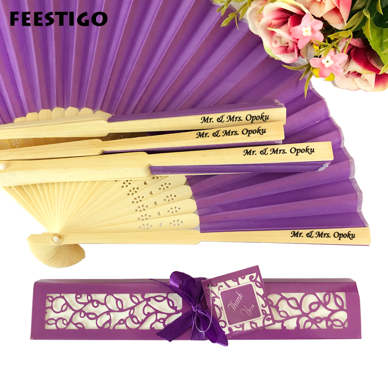 FEESTIGO Wholesale 30PCS Personalized Folded Hand Silk Fans Wedding Favors Customized Folding Hand Fan Wedding Gifts