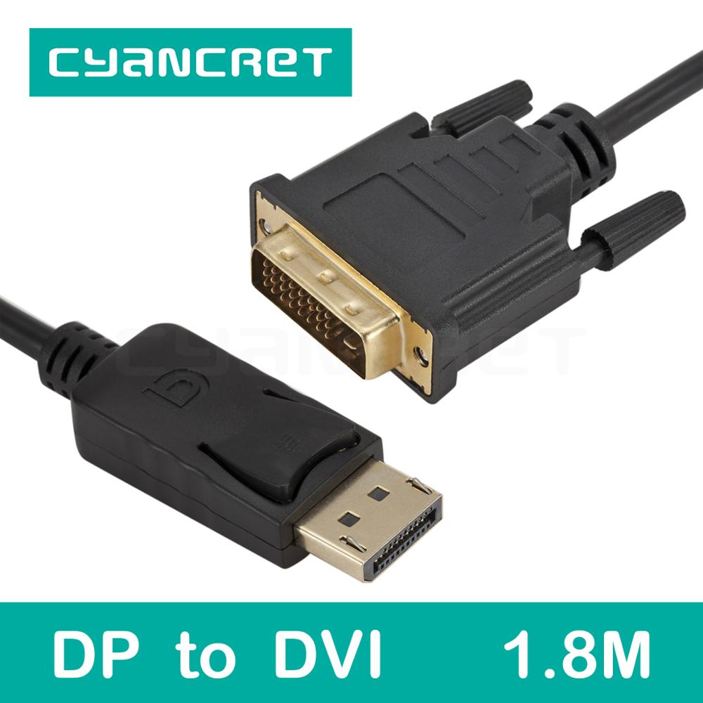 Video Cable Displayport DP to DVI Cable 1.8M Male-Male Transmits HD Video to Displays for HDTV Monitor Projector Support 1080P