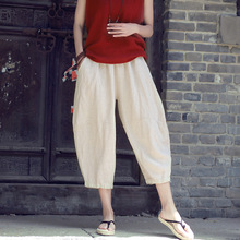 2019 Calf-Length Pants Spring Summer New Cotton Linen Retro Loose Casual Trousers Solid Color Pant White/Beige