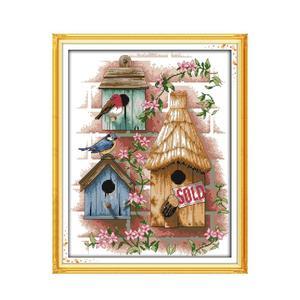 Набор для вышивки крестиком 11CT 14CT вышитая ткань с принтом домик Птичье гнездо маленькая швейная оптовая продажа Китайская вышивка Настенна...