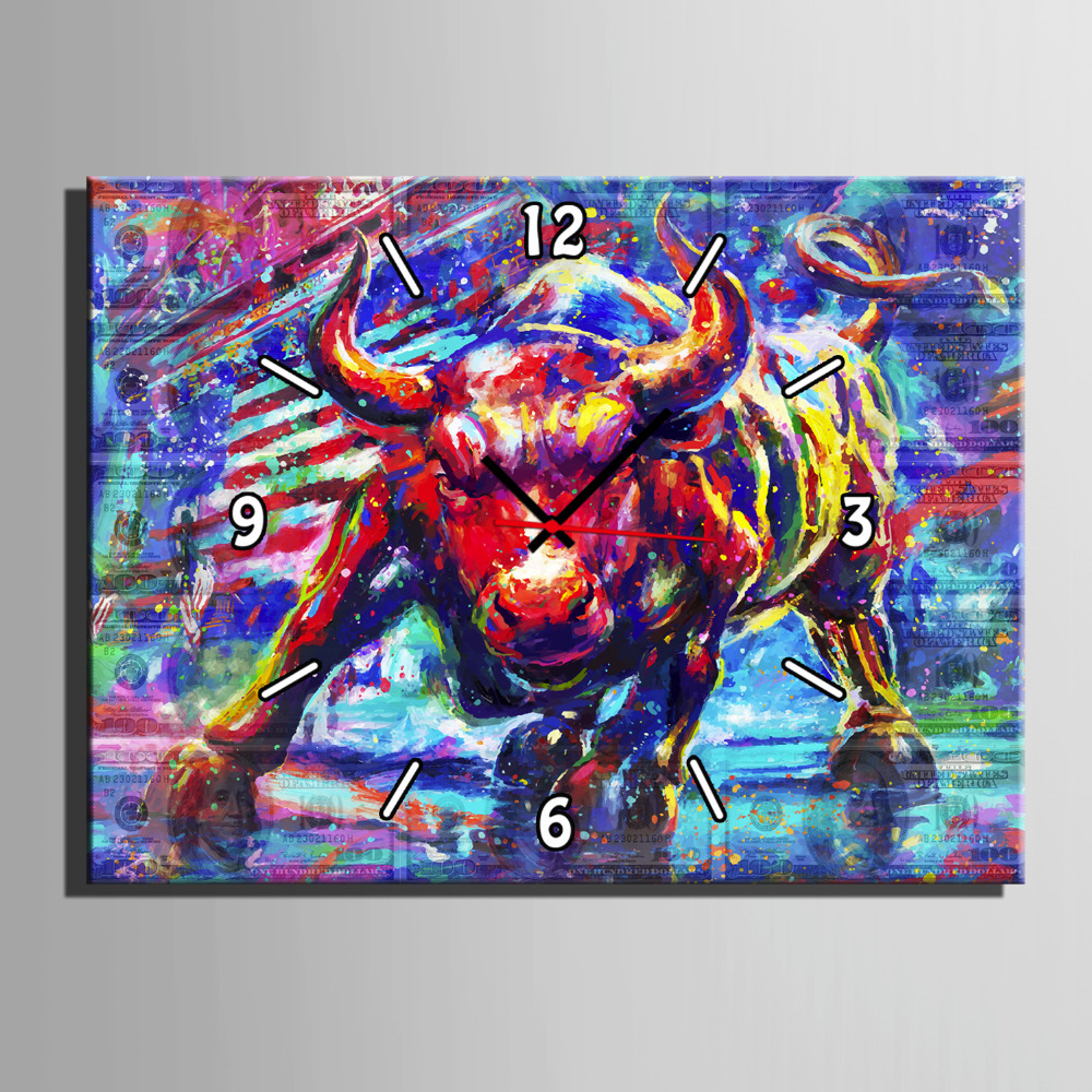 Free Shipping Art Print Red Bullfight Clock in Canvas 1pcs Wall Clock Z18062120