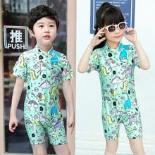 Baby Girls Boys Rash Guard Kids Beachwear Child One Piece Swimsuit Unicorn Prinded Short Sleeve Bathing Suit Toddler Swimwear