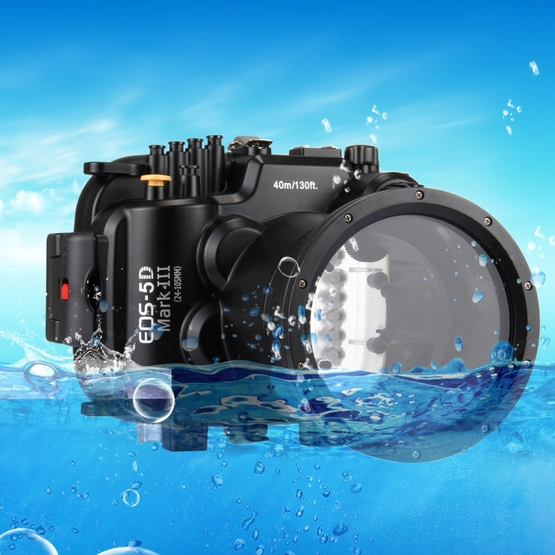 For Canon EOS 5D Mark III Housing 40m 130ft Waterproof Underwater Diving Case Camera Housing Case For Canon EOS 5D Mark III 5D 3 meikon 40m waterproof underwater camera housing case bag for canon 600d t3i