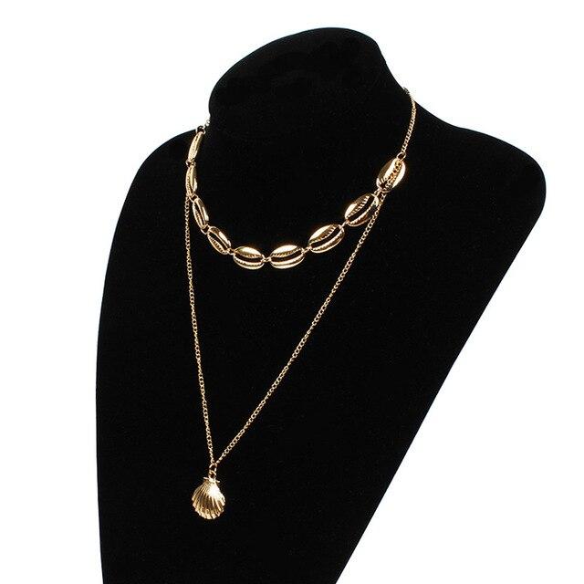 البوهيمي مقشر سبائك قلادة قلادة النساء الصيف الشاطئ الطبقات سلسلة قصيرة تصل إلى عظمة الترقوة المختنق قلادة مجوهرات