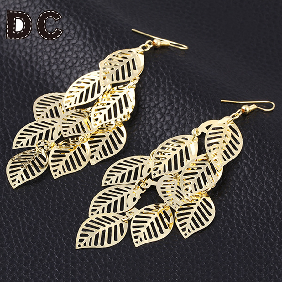 Fashion Casual Leaf Earrings Lovely Bohemian Gold Color Leaves Dangle Earring Chic Alloy Filigree Ear Jewelry for Women F6120