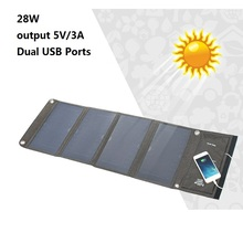 Dual USB Ports 28W Solar Panel Charger Portable Output 5V/3A Solar Cell Waterproof Power bank For Xiaomi Huawei iPhone