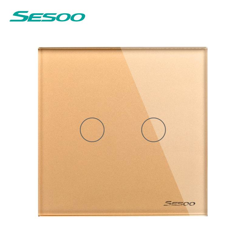 SESOO EU/UK Universal Wall Light Switch 110-220V Crystal Glass Panel Switch 2 Gang 1 Way Waterproof Touch Control golden eu uk standard sesoo touch switch 1 gang 1 way wall light touch screen switch crystal glass switch panel remote control switch