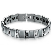 Fashion Men Jewelry Stainless Steel Chain Link Man Bracelets with Magnet Stone font b Health b