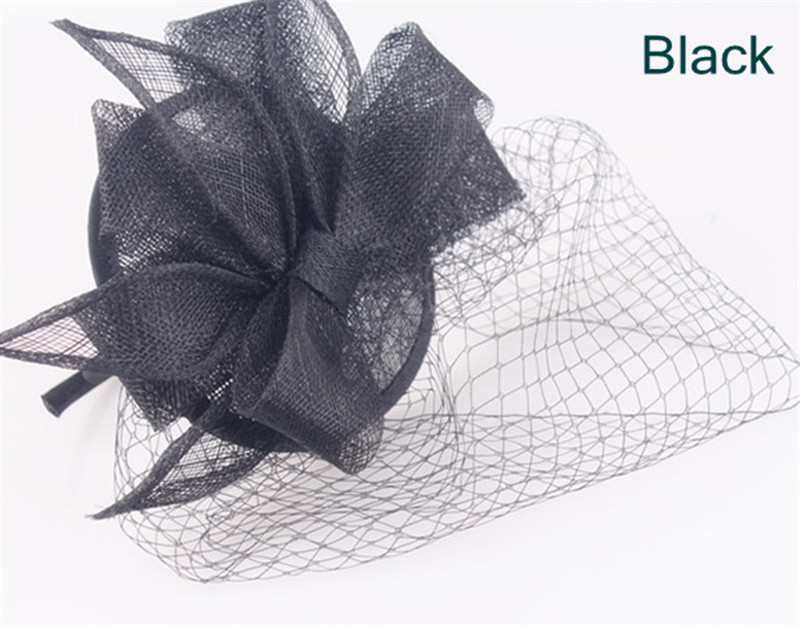 Elegant sinamay fascinator headwear sinamay base with birdcage veils cocktail hats bridal hair accessories party hats